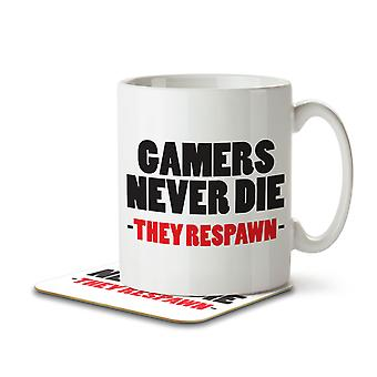 Gamers Never Die, They Respawn - Mug and Coaster