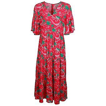 Primrose Park Alice Rose et Vert Imprimé Soie Blend Bell Sleeve Midi Robe
