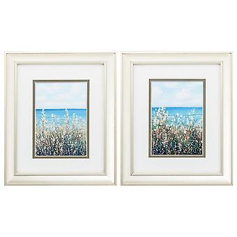"""10"""" X 12"""" Champagne Gold Color Frame  Flowers At The Coast (Set of 2)"""