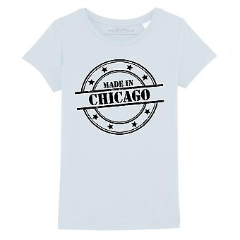 STUFF4 Girl's Round Neck T-Shirt/Made In Chicago/Baby Blue