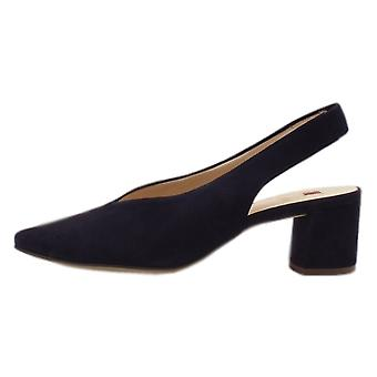 Högl 7-10 4602 Urbana Chic Pointed Toe Slingback Shoes In Navy Suede
