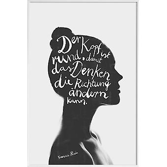 JUNIQE Print - Thinking - Quotes & Slogans Poster in Black & White