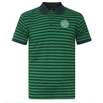 Celtic FC Official Football Gift Mens Yarn Dye Marl Striped Polo Shirt