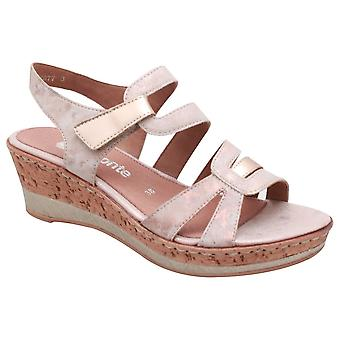 Remonte Metallic Rose Open Toe Wedge Sandal With Adjustable Straps