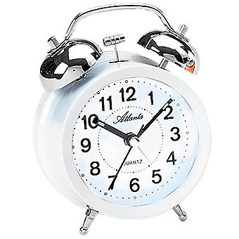 Atlanta 1743/0 alarm bell alarm clock twin Bell alarm clock Quartz White silent light