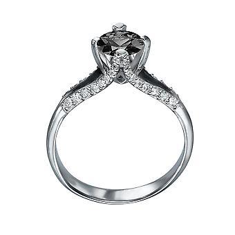 14K White Gold 1.50 CTW Black Diamond Ring mit Diamanten geteilt Schaft einzigartige Vintage