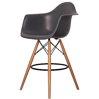 Charles Eames Style Dark Grey Plastic Bar Stool With Arms