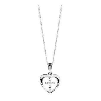 Orton West Cross dentro coração pingente - prata