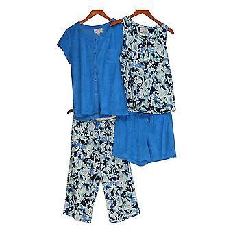 Carole Hochman Women's Petite Pajama Set Baby French Terry 4-Pc Blue A290142