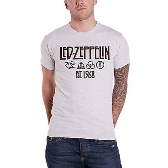 Led Zeppelin T Shirt Symbols Est 1968 Band Logo new Official Mens Grey