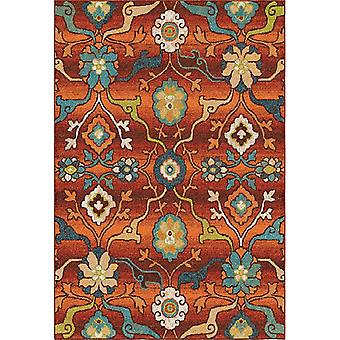 """63""""x 90""""x 0.31"""" Floral/Botanical Red Area Rug"""