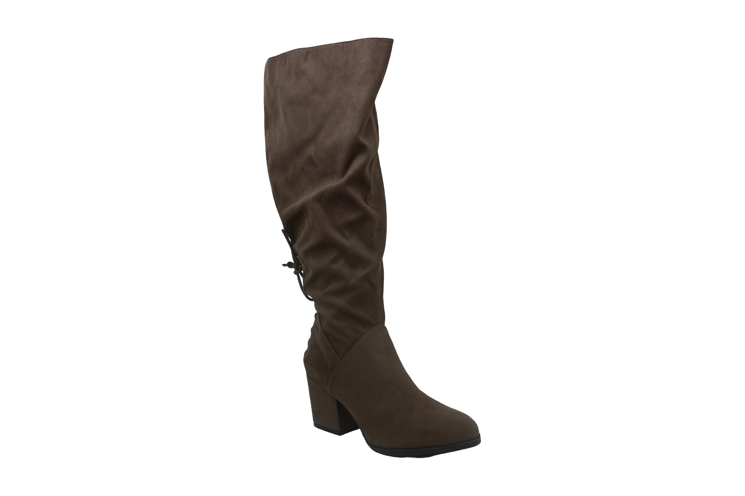 Brinley Co. Womens Knee-High Heeled Boot Taupe, 9 Extra Wide Calf US 9fMWm