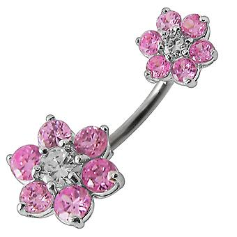 Jeweled Sister Flowers Spinal Belly Button Ring