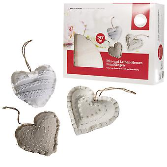 Hanging Heart Fabric Adults Sewing Kit - Makes 3