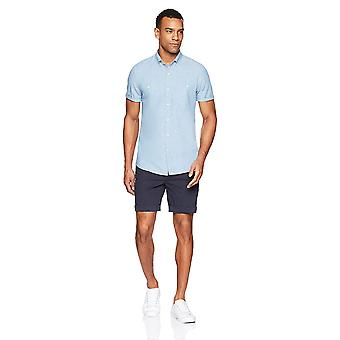 Goodthreads Męska&s Slim-Fit Koszula Chambray z krótkim rękawem, niebieska, średnia