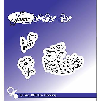 Door Lene Girl met bloemen Clearstamps