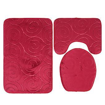 3 Stück Falai samt Badezimmer Matte Set einschließlich quadratische Kissen, U-förmige Kissen, Toilette DeckelAbdeckung, einfarbige
