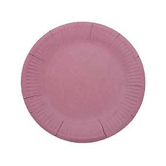 10PCS 7 Inch Solid Color Circle Tray Pink
