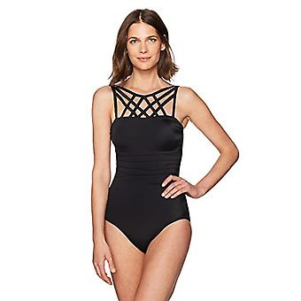 Brand - Coastal Blue Women's Control One Piece Swimsuit, Black, M (8-10)