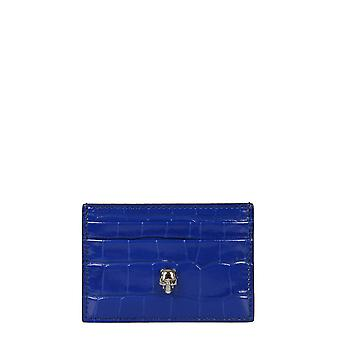 Alexander Mcqueen 6320381jmfi4350 Frauen's blaue Leder Karte Halter