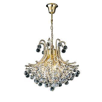 Inspiriert Diyas - Bask - Deckenanhänger Kronleuchter Runde 4 Licht Französisch Gold, Kristall