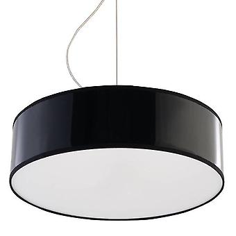 2 Light Round Ceiling Pendant Black, E27
