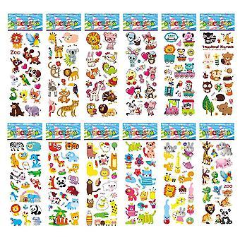 12 Arkusze / opakowanie 3d Puffy Bulk Cartoon Zoo Animal Scrapbooking Naklejki dla dziewczyny / chłopiec prezent urodzinowy (12 różnych arkuszy)