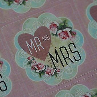 Herr og fru rosa hjertet Floral bryllup favør klistremerke ark x 35 klistremerker