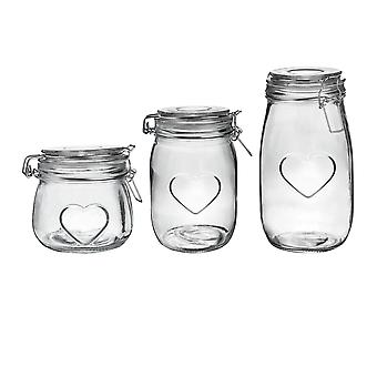 Nicola Spring Heart Design Glass Storage Aliments Preserve Jars - 500ml / 1L / 1.55L - Clair - Ensemble de 3
