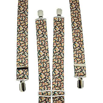 Ties Planet Green, Red, Yellow & Silver Paisley Patterned Trouser Braces