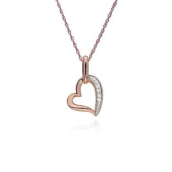 Classic Round Diamond Open Love Heart Pendant Necklace in 9ct Rose Gold 191P0729019