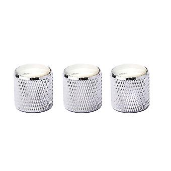 3PCS perillas superiores blancas Chrome Metal Guitar Perillas Desenfado