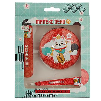 Lucky Cat Maneki Neko Beauty Set - Compact Mirror, Nail File & Tweezers