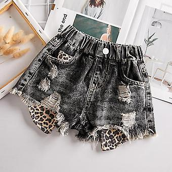 Jeans Pants For Baby - Fashion Leopard Print Patchwork Shorts