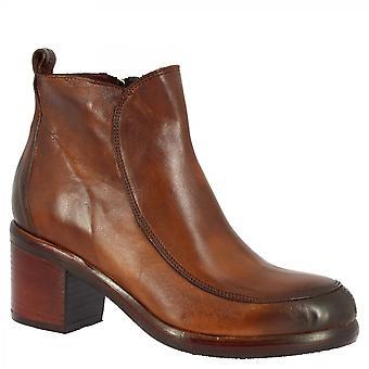 Leonardo Shoes Women's handgemaakte ronde teen vierkante hakken enkellaarsjes in bruin kalfsleer met zijrits