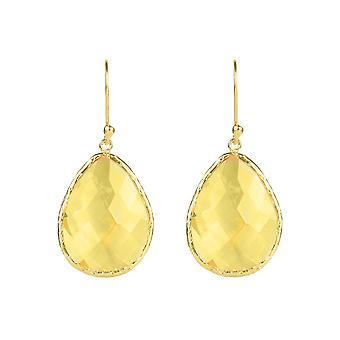 En argent 925 Sterling Dangle Drop boucles d'oreilles crochet Citrine jaune or gros bijoux