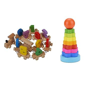 1 Set Number Wooden Train Figures Railway, Kids Wood Mini Toy Educational &