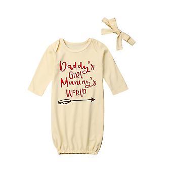 Nouveau-né Lettre de bébé Swaddle Enveloppement Couverture à manches longues Sac de couchage+bandeau