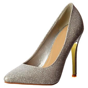 Onlineshoe Party Mid Heel Pointed Toe Glitter Court Shoes