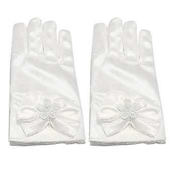 Girls Bow Knot Gloves Prom Satin Stretchy Stage Shining Luxury Fairy Gloves