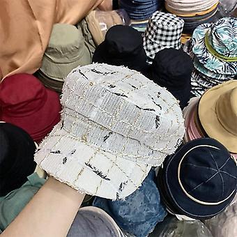 Nouveau automne Plaid Tweed Leisure Lady Octagonal Hat Men Women Visors Cap