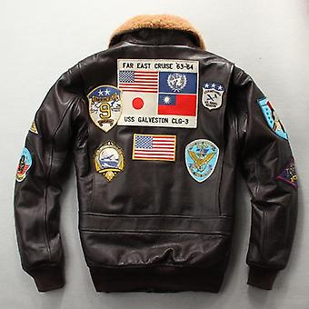 100% Genuine Leather Jacket Tom Cruise Top Gun Air Force Multi-label Thick