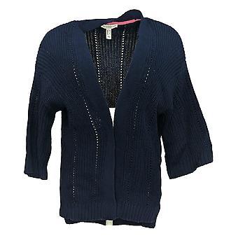 Isaac Mizrahi Live! Women's Sweater Mix Stitch Cardigan Blue A353853