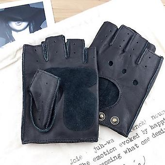 Winter Real Leather Fingerless Gloves, Half-finger Gym Workout Fitness Driving