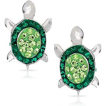 Green Crystal Baby Sea Turtle Earring Set, 925 Sterling Silver,with Gift Box