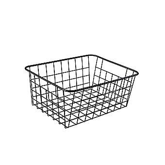 Black Wrought Metal  Iron Mesh Storage Basket for Kitchen 27 x 20 x 12 cm