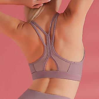 Strap mesh stitching yoga bra Q65
