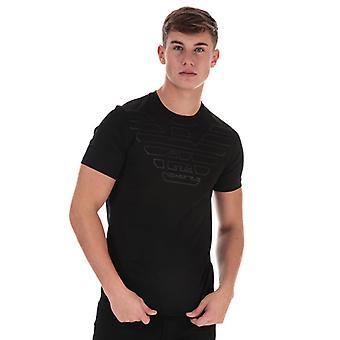 Men's Armani Outline Eagle Logo T-Shirt in Black