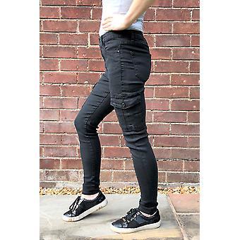 High Rise Skinny Cargo Pantalones Pierna Corta - Negro