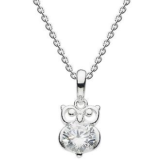 Dew Silver Dinky Small Owl With White Cubic Zirconia Pendant 9742CZ024